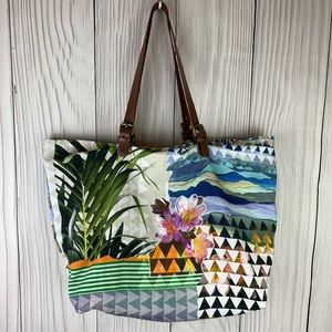 Prana Floral Beach Tote Leather Adjustable Straps
